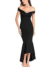 Y-BOA Robe Noir Femme Longue Sirène Moulant Épaule Dénudé Dos Nu Col V