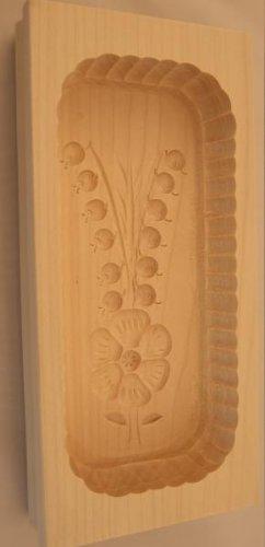 Hofmeister Holzwaren Eckige Butterform 25x12x4,5 cm für 500 g mit Motiv (Blumenstrauß)