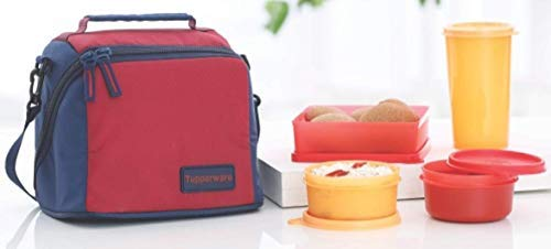 Tupperware Plastic Lunch Box with Bag  Multicolour