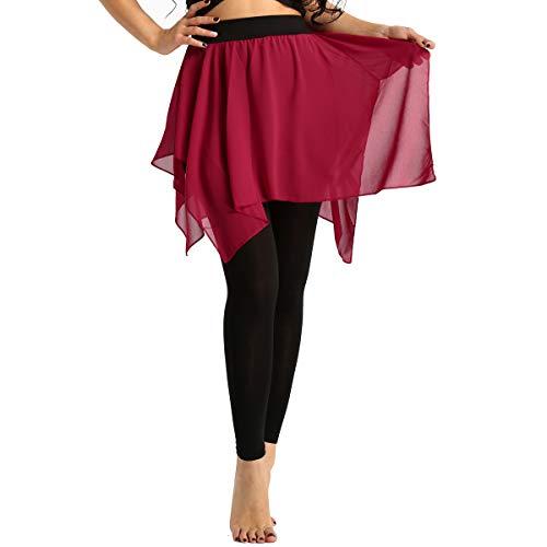 dPois Damen Sport Leggings mit Chiffon Lang Sport Hose mit Asymmetrische Rock Skate Wrap Skirt Wickelrock Frauen Hosenrock Yoga Ballett Latein Salsa Tango Rock Dancewear Rot Medium