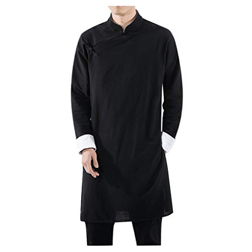 ZHANSANFM Herrenhemd Herren Chinesische Tang-Anzug Oberseiten Unifarben