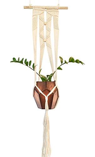 Wand aufhängen Übertopf Halterung für Ihre Boho Decor Starke Unterstützung Makramee-Pflanzenhänger   präsentieren Pflanzgefäßen mit auf Trend Boho Chic zum Aufhängen Pflanzgefäß   Medium natur (Mit Perlen Hanger Pflanze)