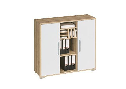 Aktenregal Büroschrank MAJA System Sideboard in Sonoma Eiche – Weiß Hochglanz 121,1×109,7x40cm
