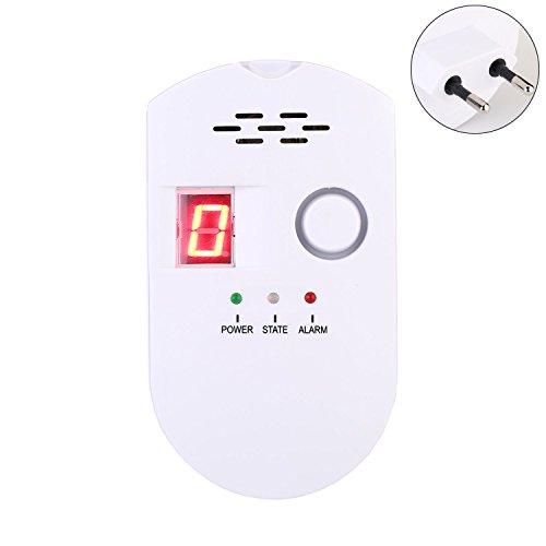 Detector de Alarma de Gas, VOOKI Sensor con Advertencia de Sonido y Pantalla LED Enchufe Inalámbrico LPG / Gas Natural / gas de Carbón para Seguridad Familiar Detector de Fugas de Gas
