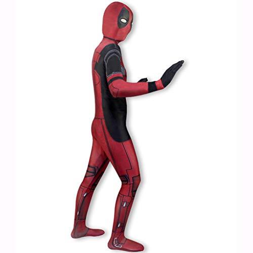Xiaodun77 Männer Costom Jumpsuit Komplettes Set Von Kostüm ole Spielen Kleidung Deadpool 2 Cosplay Anzug Kostüm Erwachsene Halloween Kleidung Set,Rot,XL (Deadpool Kostüm Spiel)