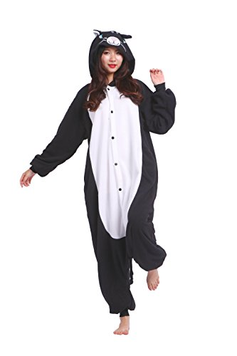 mi Kostüm Anime Tier Cosplay Hoodie Onesie Erwachsene Pyjamas Cartoon Party Halloween Nachtwäsche, Black Cat, L (Höhe: 170-180cm) (Black Cat Kigurumi)
