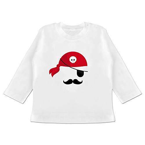 Karneval und Fasching Baby - Pirat Kostüm - 3-6 Monate - Weiß - BZ11 - Baby T-Shirt Langarm