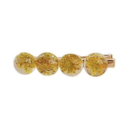 Vintage Multiple Round Transparent Dried Flower Hairpin Women Hair Clip Hair Accessoires für Damen Damen Mädchen (Yellow Flower Hair Pin)