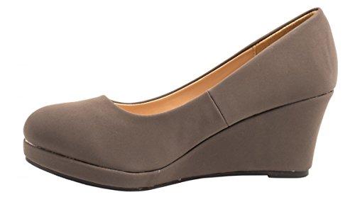 Elara Damen Pumps Keilabsatz Wedges Schuhe mit Plateau Grau