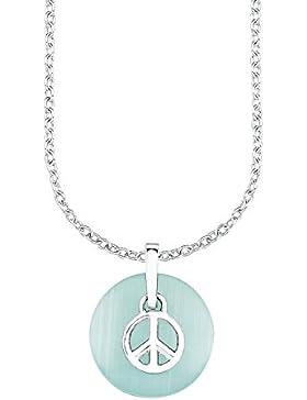 s.Oliver Kinder-Kette mit Anhänger Peace 925 Silber rhodiniert Glas türkis - 522595