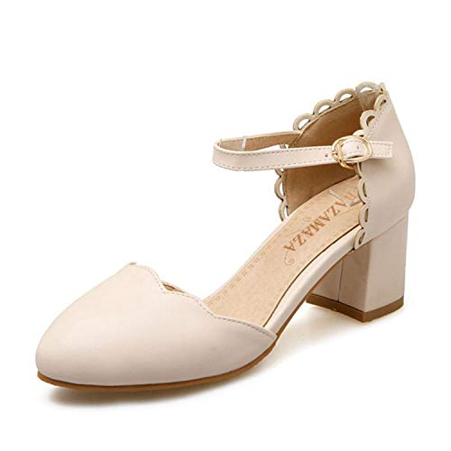 ring Shoes Women Thick High Heel Ruffles Sandals Women Ankle Strap Candy Color Dating Heels Shoes Beige 6 ()