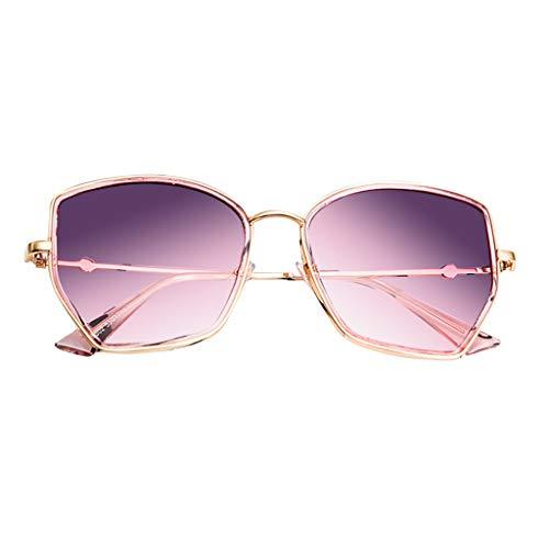 Whycat Damen Sonnenbrille BraunMode übergroße quadratische Sonnenbrille für Frauen, polarisierte Mode Vintage Eyewear Flash Mirror Lens(Purple1)