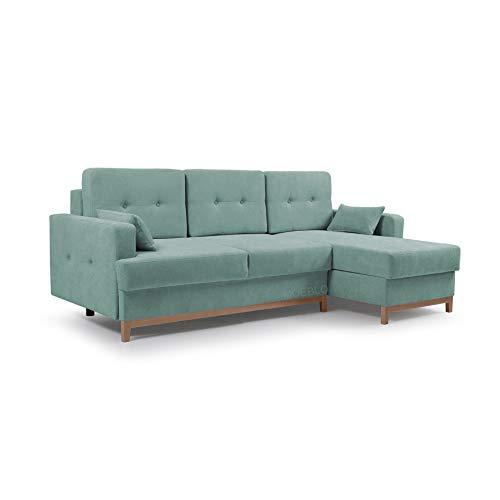MOEBLO Ecksofa mit Schlaffunktion Eckcouch mit 2 X Bettkasten Sofa Couch L-Form Polsterecke Sophie