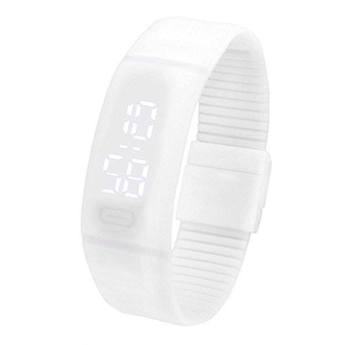 FEITONG Einfach Unisex Gummi LED Uhr Datum Sport Armband Digital Armbanduhr (Weiß)