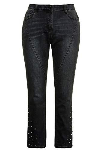 Ulla Popken Große Größen Damen Bootcut Jeans Jeanshose Ziernähte mit Perlen, Curvy, Blau (Dark Denim 93), W39/L32 (Herstellergröße: 50)