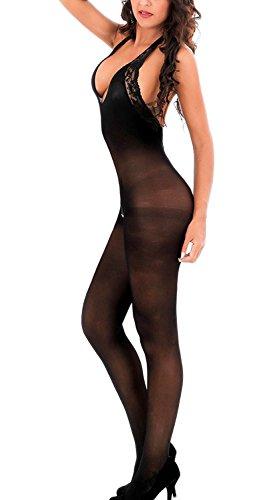 Amstt Damen Sexy Halter Sheer Lace Bodystocking Lingerie Backless Bodysuit (Schwarz)