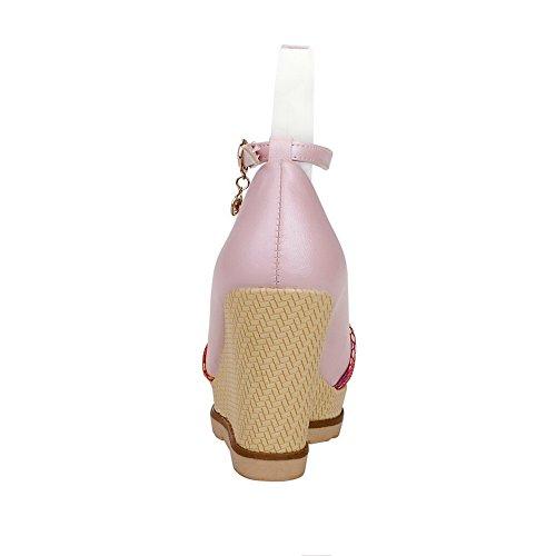 VogueZone009 Damen Schnalle Rund Zehe Mittler Absatz Pu Leder Gemischte Farbe Pumps Schuhe Pink
