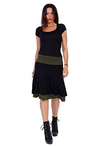 Sommer Rock schlicht / luftiger lässiger Doppel Damenrock knielang von 3 Elfen, hergestellt in Berlin, langer alinie Rock schwarz XL oliv
