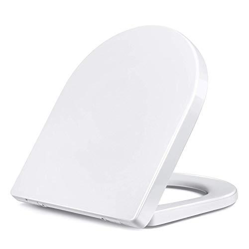Amzdeal Tapa y Asiento para inodoro Universal Tapa WC Cierre Lento Suave Mudo Tapa de Inodoro con Desmontaje Rápido / D-Forma Duroplast