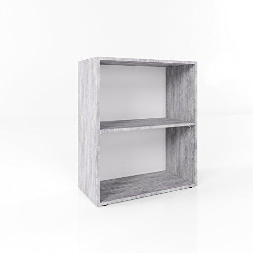 Bücherregal Grau Beton 78 x 60cm - 2 Fächer - Wandregal Holzregal Regal Ordner Nachttisch Nachtschrank Akten Büro CD DVD