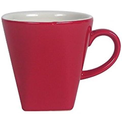 Unbranded 6503023 - Juego de 6 tazas de café (20 cl, porcelana, forma geométrica), color rojo