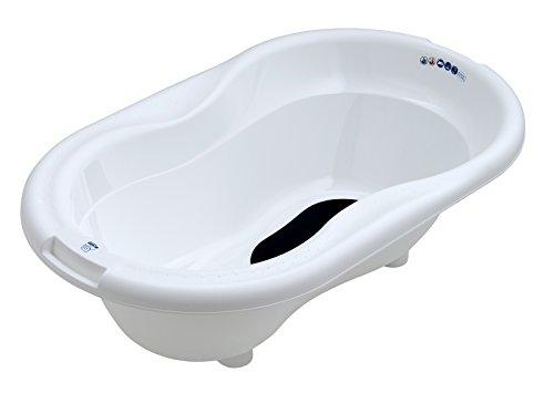 Rotho Babydesign TOP Badewanne, Mit Antirutschmatte und Ablaufstöpsel, 0-12 Monate, TOP, Weiß, 200010001