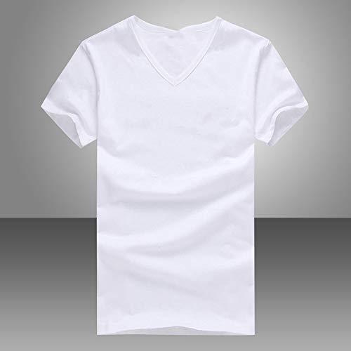 CLZC Elastische V-Ausschnitt Männer T-Shirt Herren Kurzarm T-Shirt Fitness Casual Male T-Shirt Marke Kleidung T Tops Plus Size,Weiß,XXL