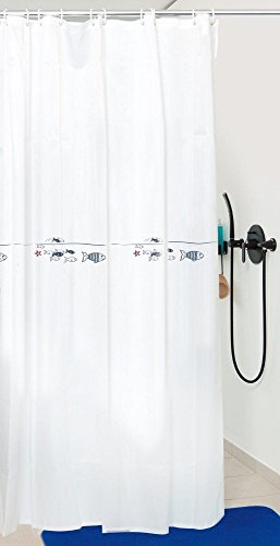 Sanwood by Nicol 8934426 Fische Duschvorhang mit Fischdesign, Material 100 % Polyester, 200 x 180 cm, weiß
