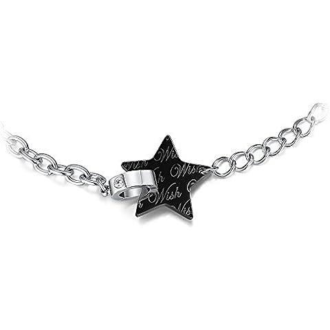 Ashley gioielli in acciaio INOX, colore: nero/argento, due tonalità, a forma di stella con zirconia cubica, da