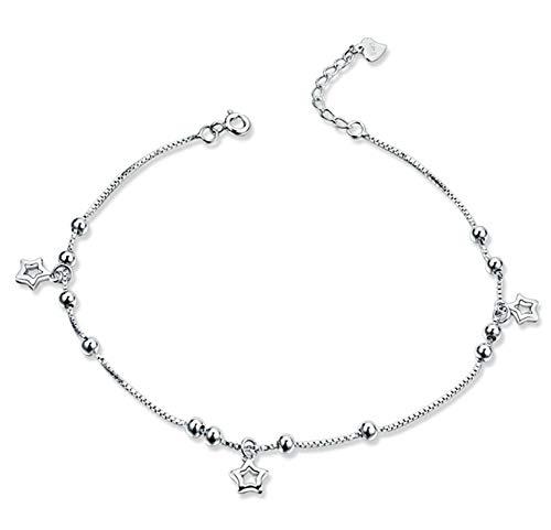 Beglie Damen Fußkettchen 925 Sterling Silber Kugel Hohl DREI Sterne Charm Knöchel Armband Silber Geschenk für Damen