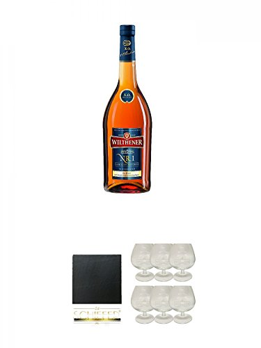 Wilthener XO Nr.1 Weinbrand 0,7 Liter + Schiefer Glasuntersetzer eckig ca. 9,5 cm Durchmesser +...