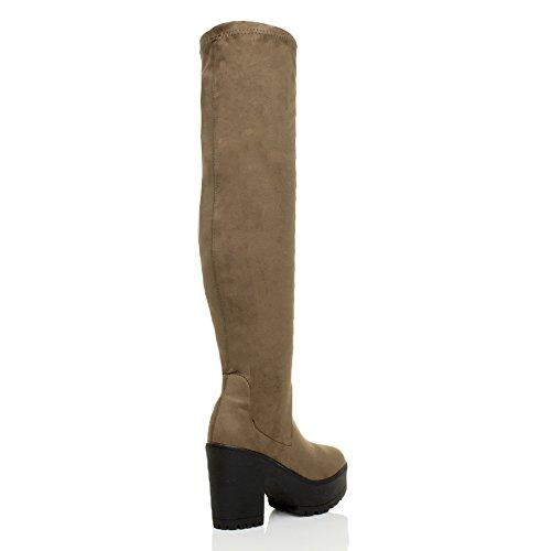 Damen Hochblockabsatz Elastisch Schenkel Plateau Reißverschluss Trend Mode Overkneestiefel Größe Khaki Taupe Braun