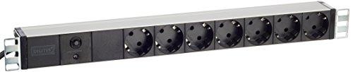 DIGITUS Professional 7-Fach Steckdosenleiste mit Überlastschutz und Schalter, Schutzkontaktsteckdose,  2 m Zuleitung mit Schutzkontaktstecker