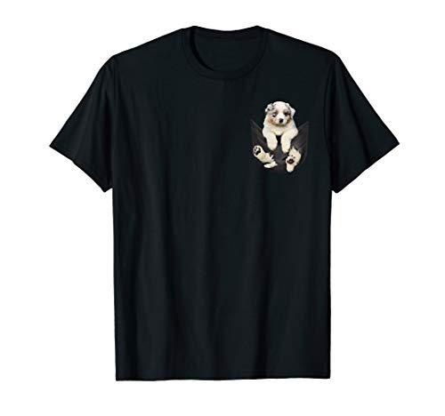 Australian Shepherd Dog T-shirt (Funny cute dog shirt - Australian Shepherd in pocket shirt T-Shirt)