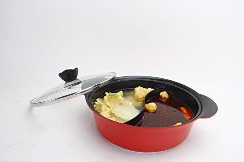 Haufson Yin Yang Hot Pot - funktioniert mit allen gängigen Kochfeldern - natürlich antihaftbeschichtet - nahtloses Design - professionelles Geschirr für das Zuhause (rot)