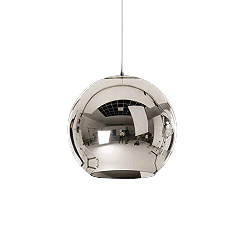 Pendelleuchte Hängelampe Runde Modern Eisen Lampenschirm Hänge Leuchter Lampen für Schlafzimmer Nachttisch Bar Kücheninsel Esszimmer Tisch Treppe Halle Loft Hängeleuchte Kronleuchter (Chrom, φ20CM) - Runde-tisch-kronleuchter