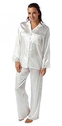 Ladies Satin 2 Piece Pyjamas - Colour - Ivory - Sizes 10/12, 14/16, 18/20, 22/24, 26/28 (18/20)