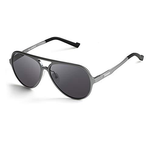 HODGSON Polarisierte Sonnenbrille Herren 100% UV400 Schutz Aviator Pilotenbrille für Frauen und Männe (Grau)