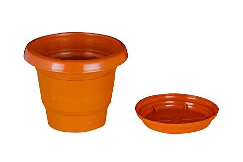 Easy Gardening Size 6 Gardening Pots + Trays - Terracotta Color Planter (Pack of Twelve)