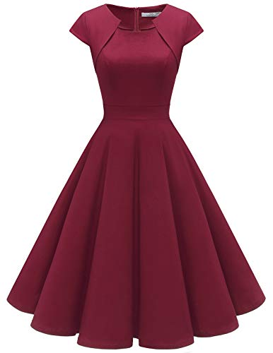 HomRain Damen 50er Vintage Retro Kleid Cocktail Party Kurzarm Rockabilly Abendkleider Dark Red S