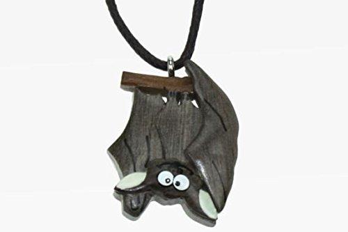 ermaus Holzanhänger Ketten Modeschmuck Holzkette Fledermäuse Vampire Vampir Tier Tiere ()