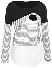 Blouse de Maternité, Solike Femme T-Shirt Chic Tops à Rayé Manches Longues  Bébé Allaitant Enceinte Grossesse… 9d5d7da59d4d
