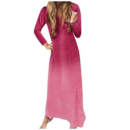 Zottom Kleid mit rundem Ausschnitt und Farbverlauf, Mode Frauen Winter Casual Rundhals Fledermaus Ärmel Kleid Print Holiday Dress - Krinoline 26 Plus Petticoat
