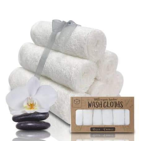 Baby-Waschlappen - Bambus Waschlappen-Handtuch - Weiche Bio Baby-Waschlappen - Gesichtstuch für Baby, Erwachsene und Kleinkinder(Weiß)