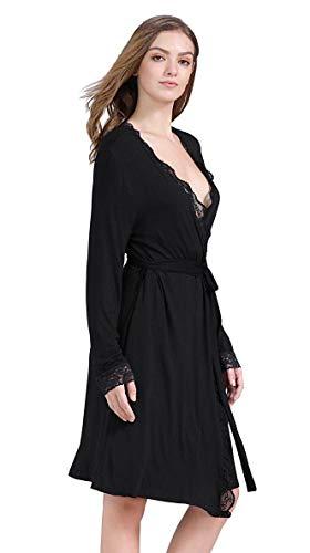 Kowentik Damen Morgenmantel Lang Bademantel Spitze Pyjamas Saunamantel Schlafanzug Nachtwäsche Kimono Schwangerschaft mit Gürtel Taschen (Schwarz, M) -