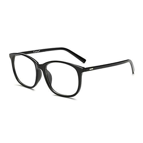 Cyxus Blaulicht-Blockierbrille für Anti-Augen-Kopfschmerzen, Retro Brillen, Unisex (Frauen/Männer) (Schwarz)