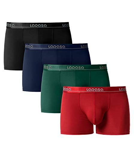 LAPASA Herren Boxershorts 4er Pack Micro Modal Unterhosen Unterwäsche Männer Retroshorts M02 MEHRWEG (Medium, Klassisch: Schwarz, Navy Blau, Dunkelgrün, Rot) - Blaue Herren-unterwäsche