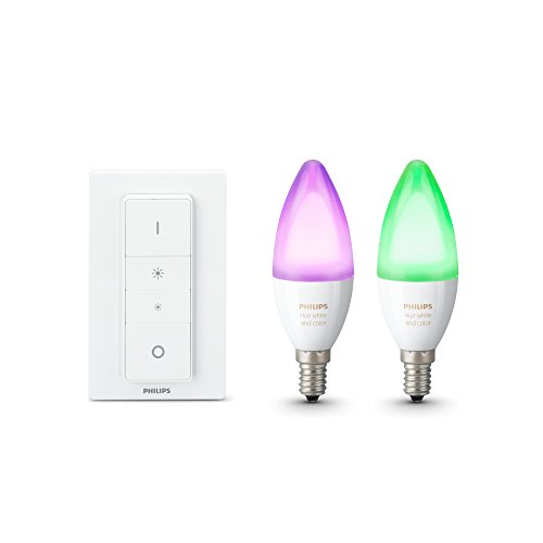 Philips Hue White and Color Ambiance Lampadine LED, Attacco E14, 6.5 W, Confezione da 2 Pezzi, Dimmer Switch Incluso
