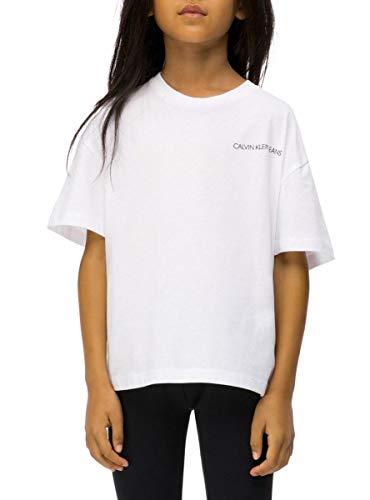 Calvin klein t-shirt white chest per bambina 16 bianco