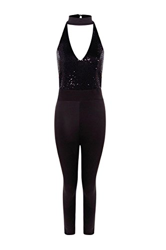 Noir Femme Joana Sequin Top Skinny Leg Jumpsuit Noir